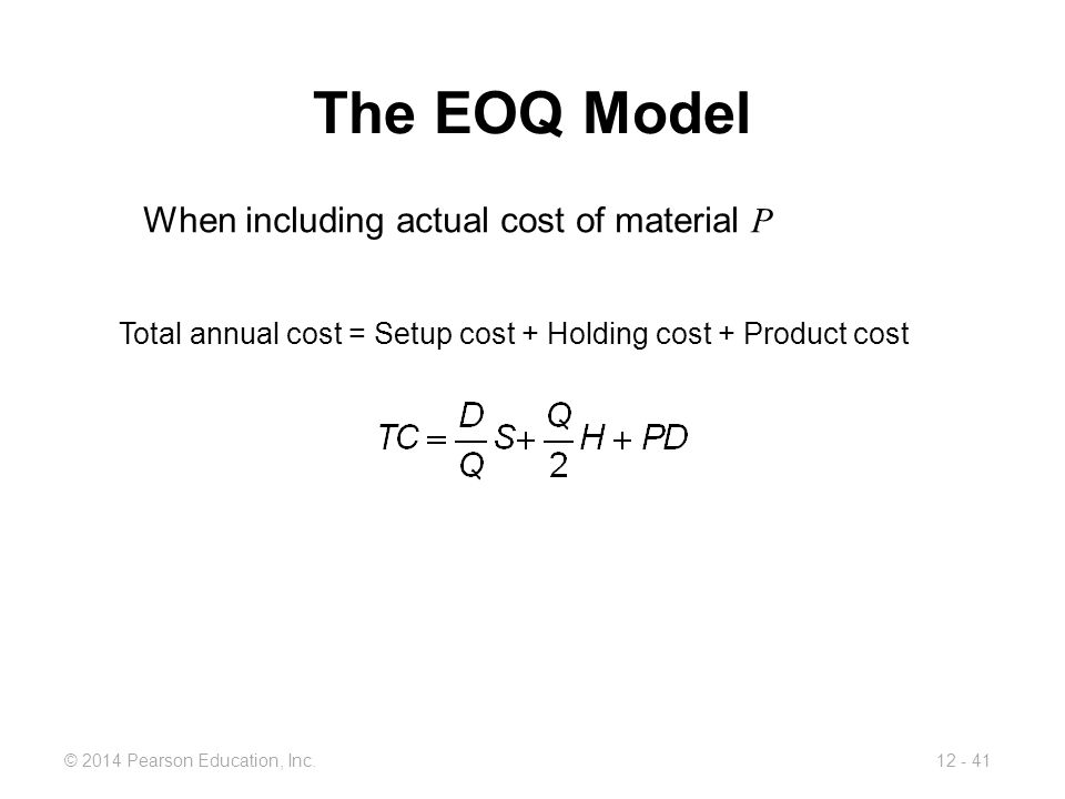 The EOQ Model When including actual cost of material P