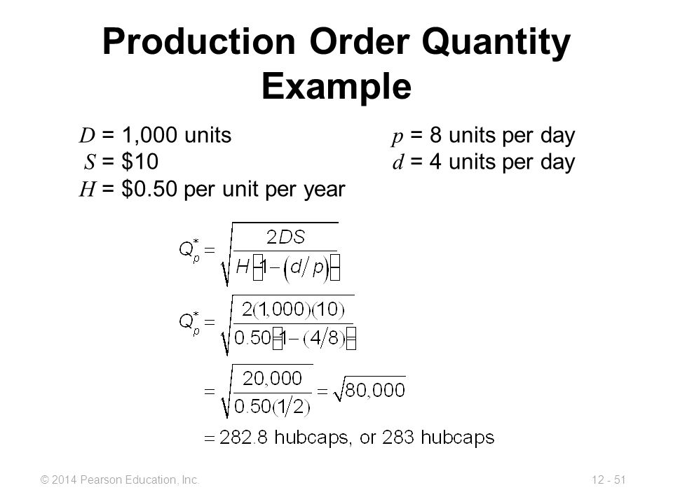 Production Order Quantity Example