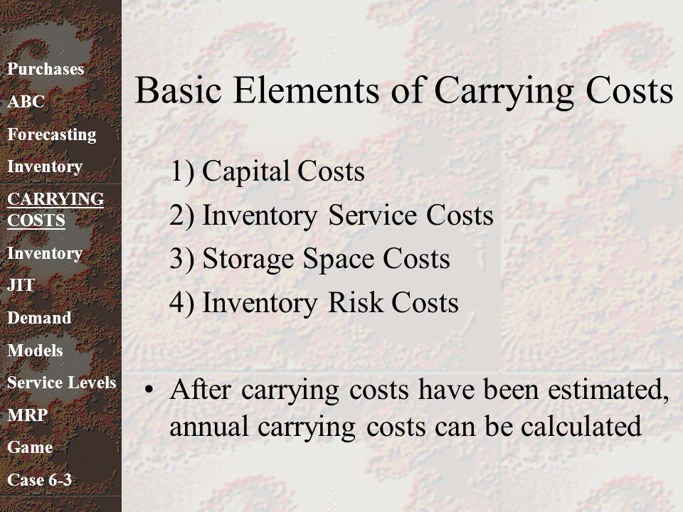 Basic Elements of Carrying Costs