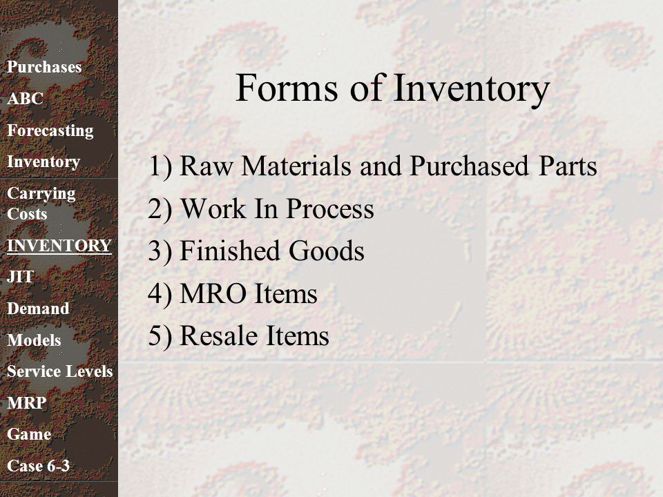 Forms of Inventory 1) Raw Materials and Purchased Parts