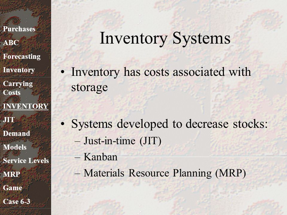 Inventory Systems Inventory has costs associated with storage
