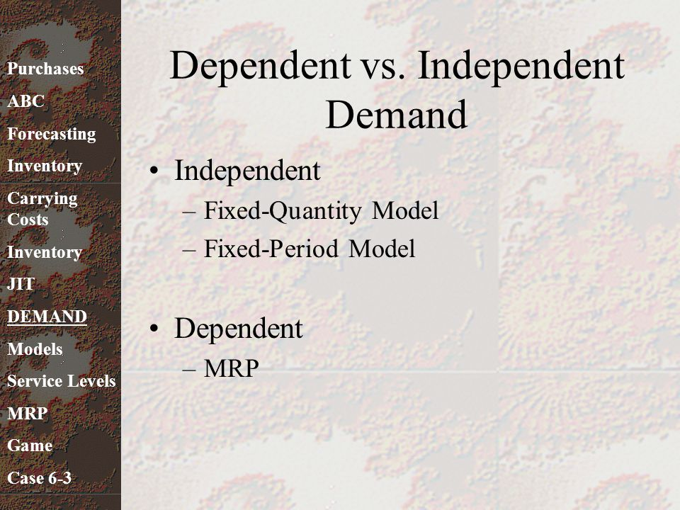 Dependent vs. Independent Demand