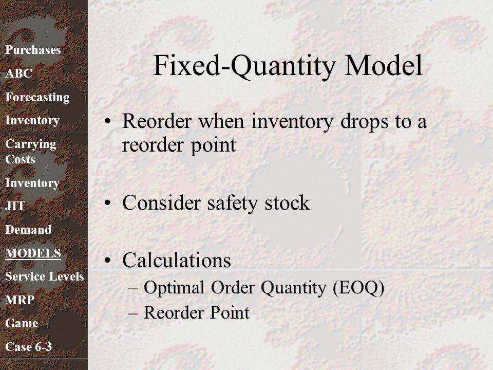 Fixed-Quantity Model Reorder when inventory drops to a reorder point