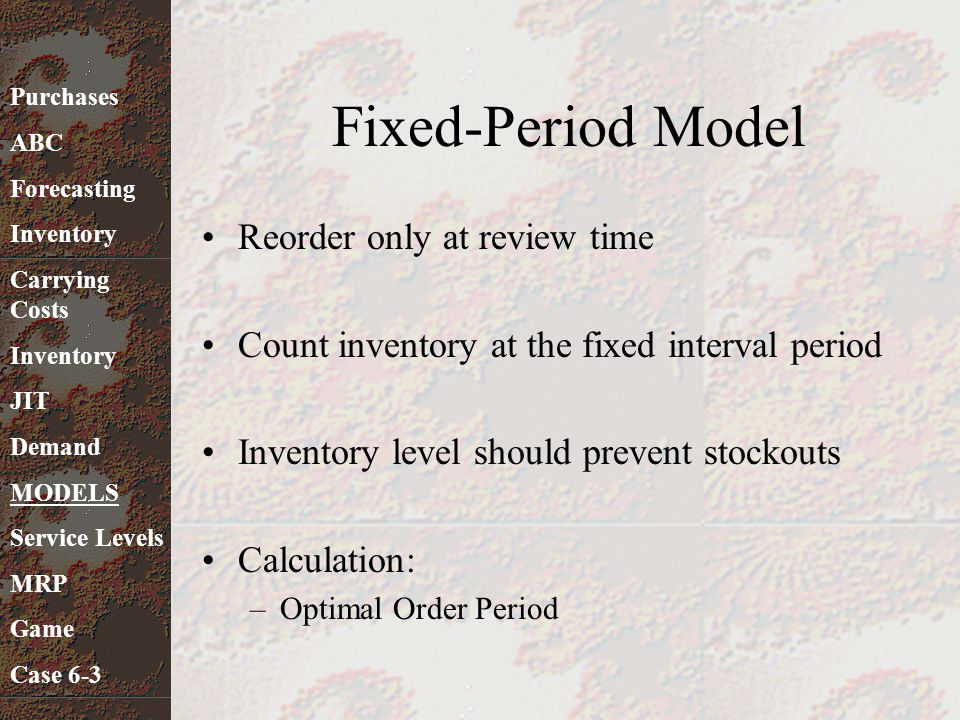 Fixed-Period Model Reorder only at review time
