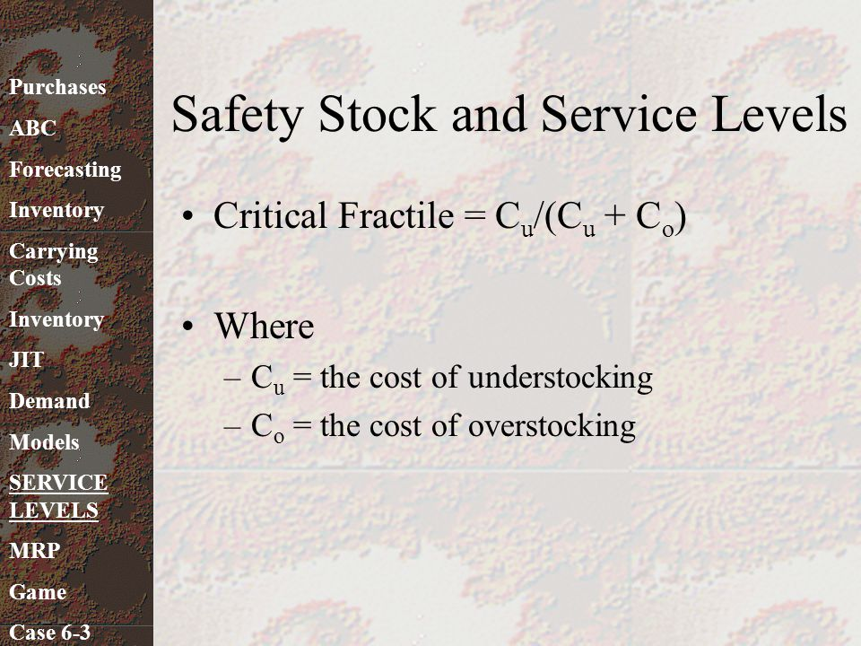 Safety Stock and Service Levels