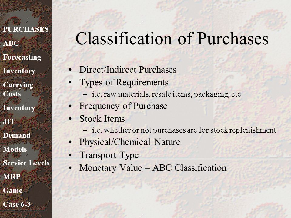 Classification of Purchases