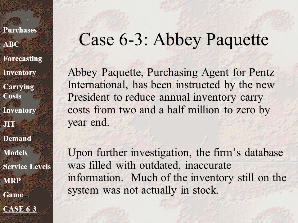 Case 6-3: Abbey Paquette Purchases. ABC. Forecasting. Inventory. Carrying Costs. JIT. Demand.