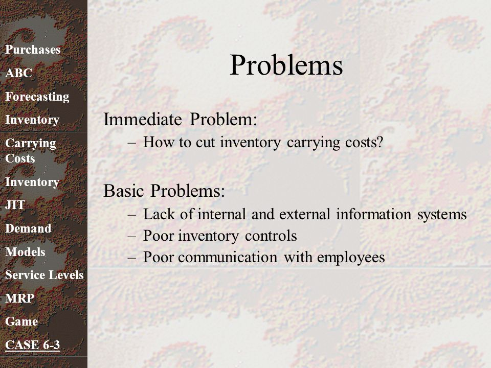 Problems Immediate Problem: Basic Problems: