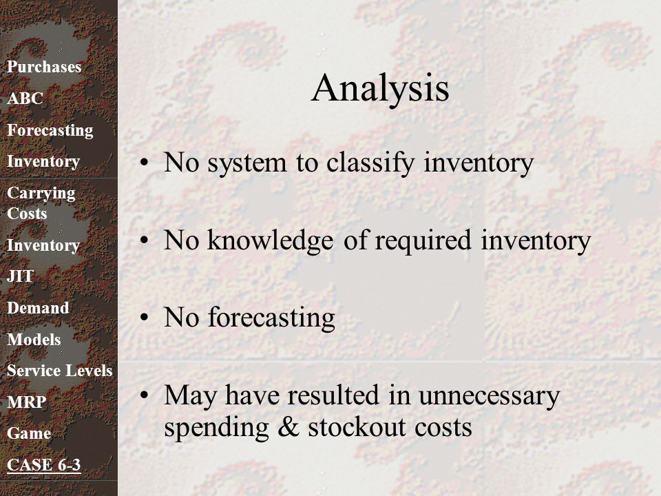 Analysis No system to classify inventory