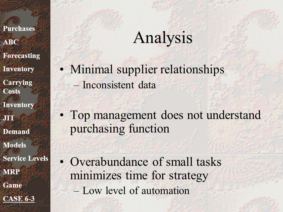 Analysis Minimal supplier relationships