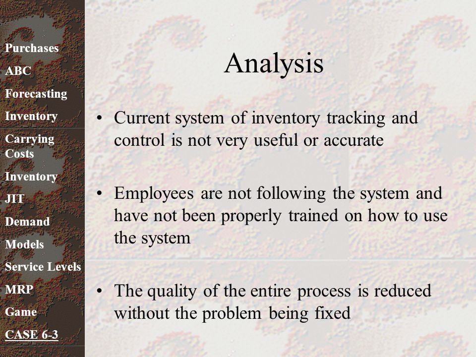 Analysis Purchases. ABC. Forecasting. Inventory. Carrying Costs. JIT. Demand. Models. Service Levels.