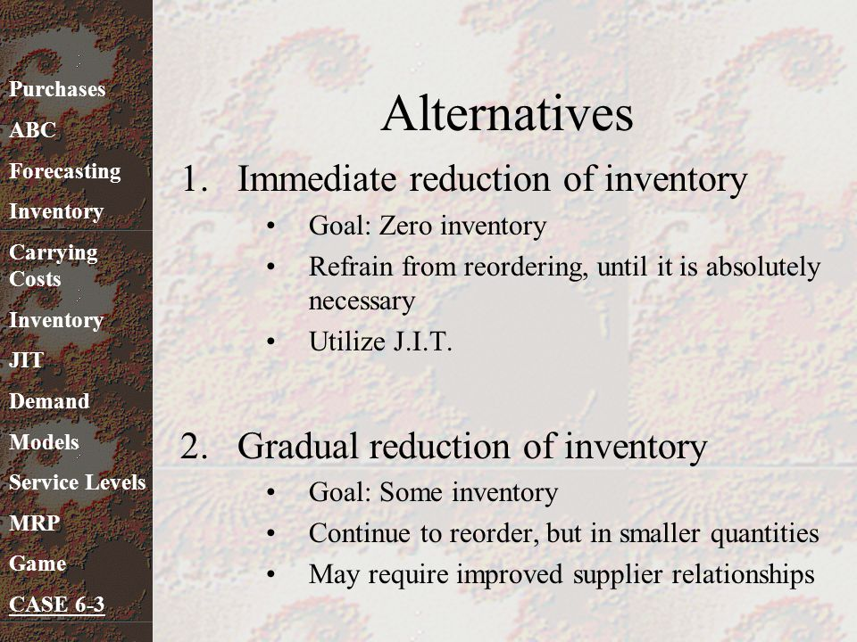 Alternatives Immediate reduction of inventory