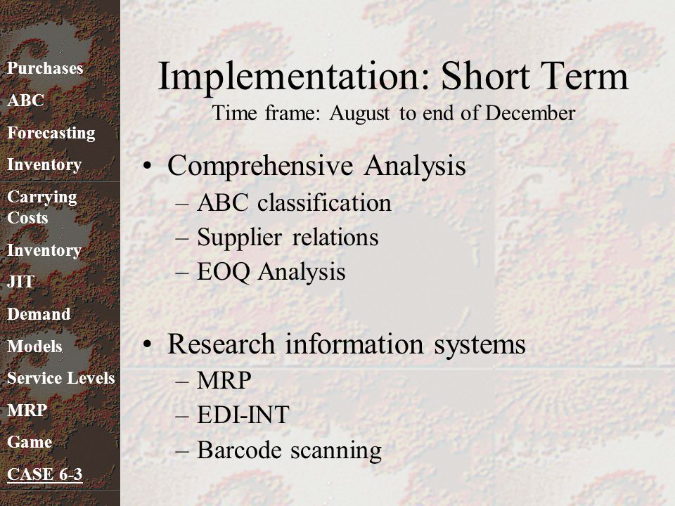 Implementation: Short Term Time frame: August to end of December