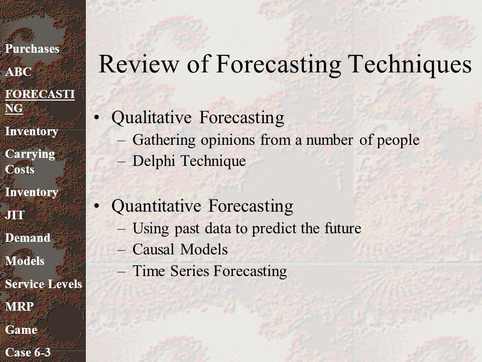 Review of Forecasting Techniques
