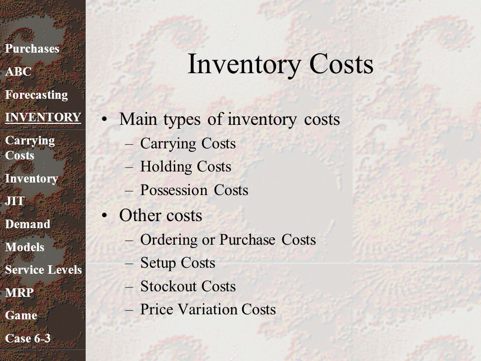 Inventory Costs Main types of inventory costs Other costs
