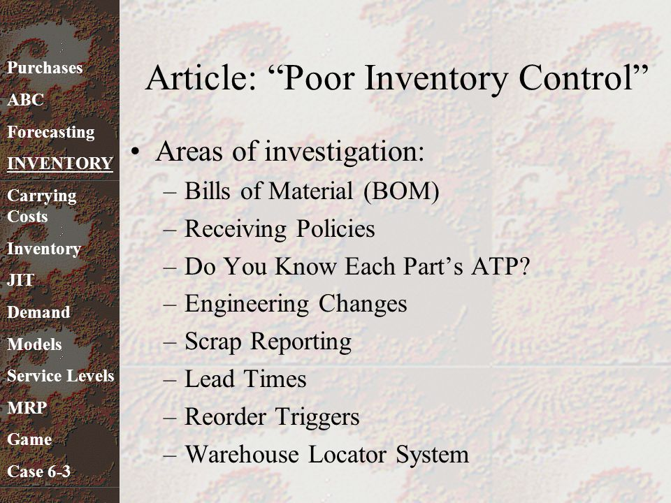Article: Poor Inventory Control