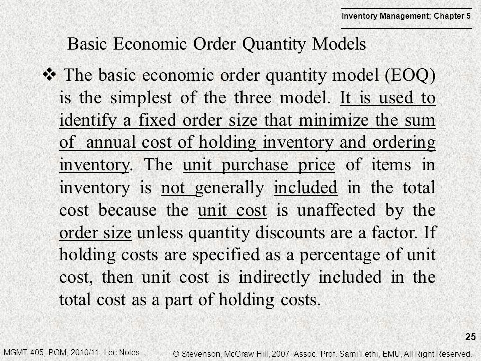 Basic Economic Order Quantity Models