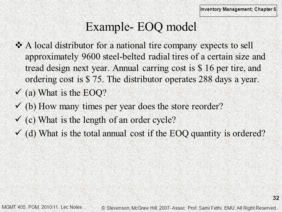 Example- EOQ model