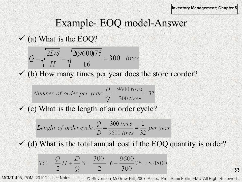 Example- EOQ model-Answer