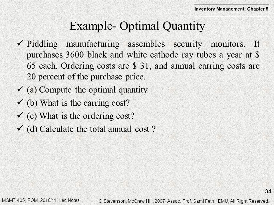 Example- Optimal Quantity