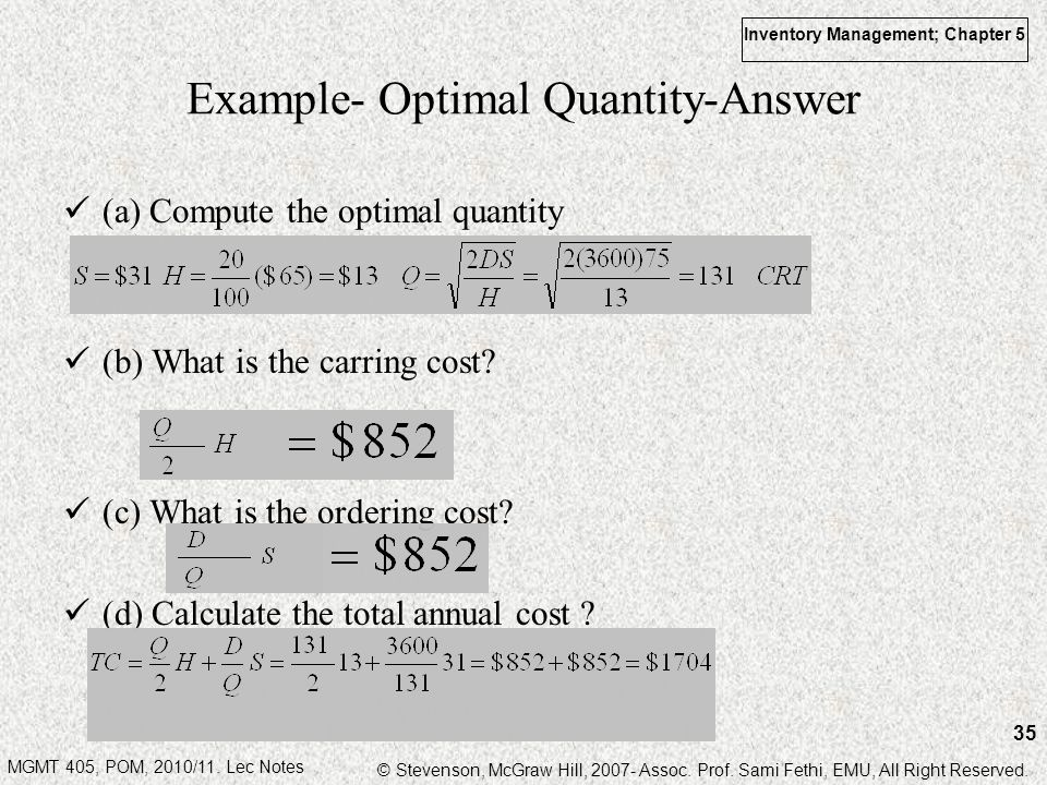 Example- Optimal Quantity-Answer