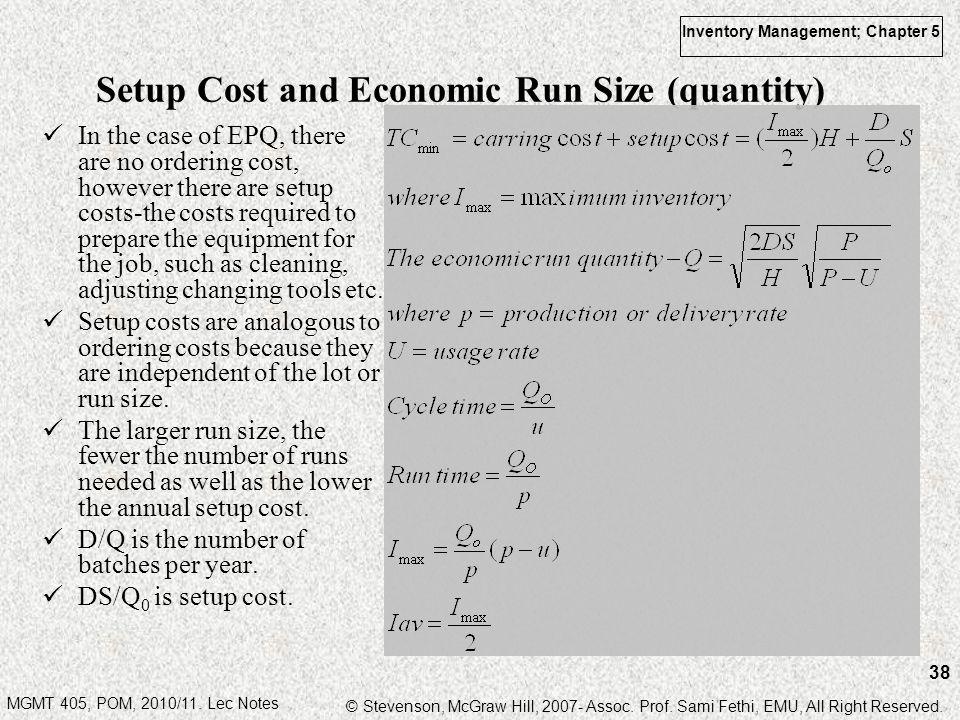 Setup Cost and Economic Run Size (quantity)
