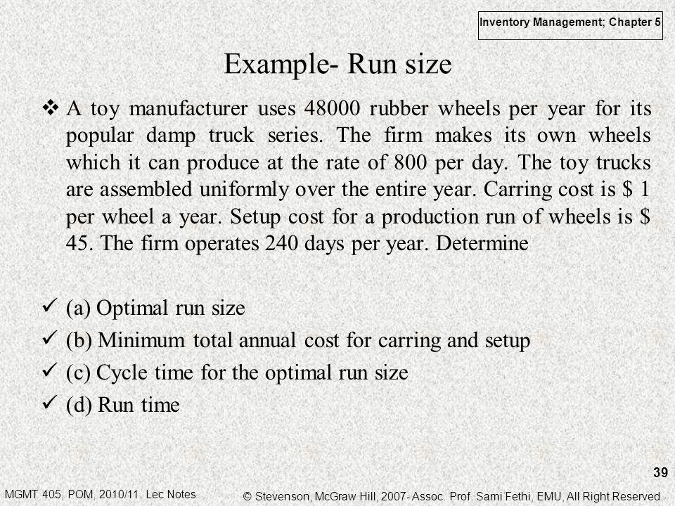 Example- Run size