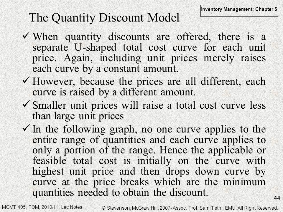 The Quantity Discount Model