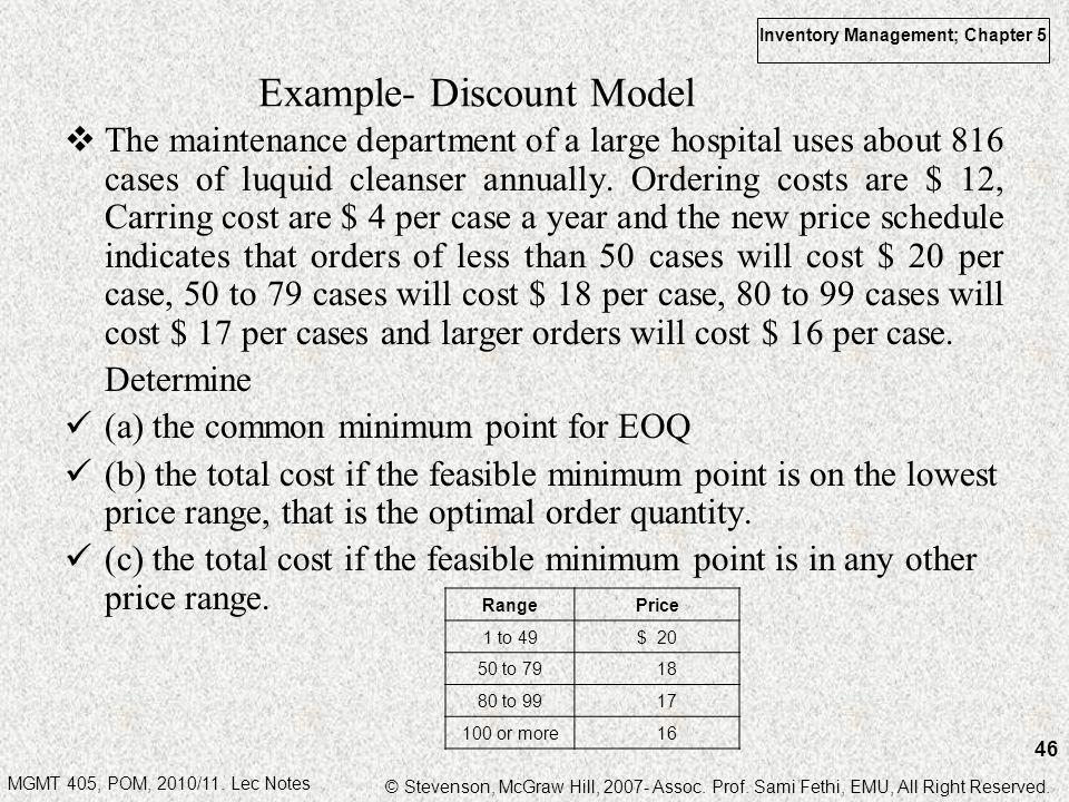 Example- Discount Model
