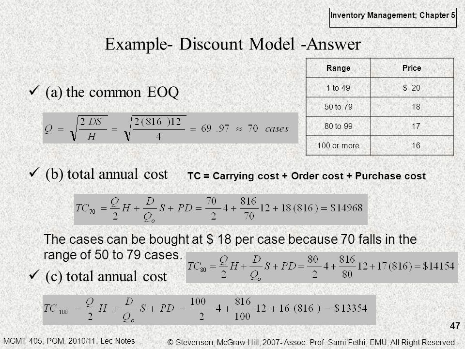 Example- Discount Model -Answer