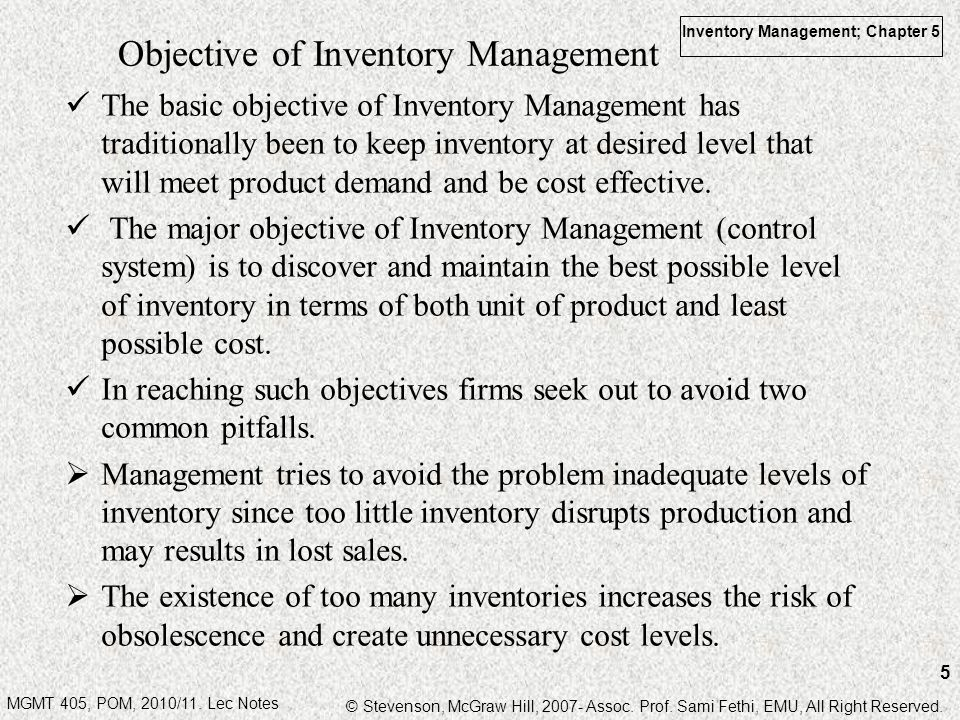 Objective of Inventory Management