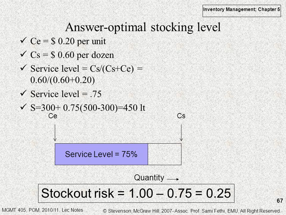 Answer-optimal stocking level