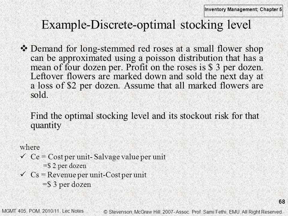 Example-Discrete-optimal stocking level