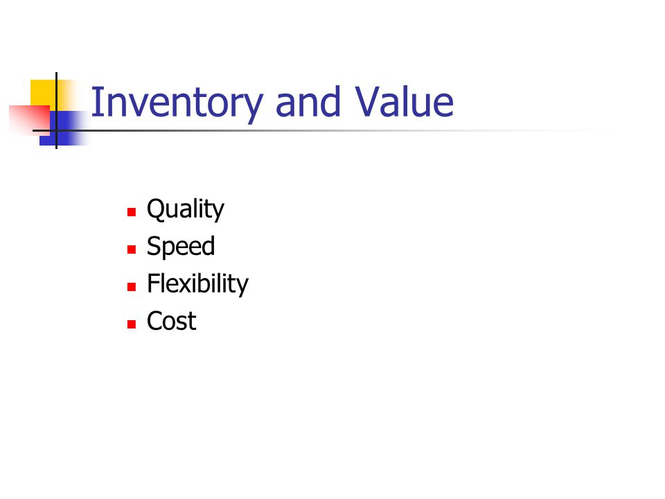 Inventory and Value Quality Speed Flexibility Cost