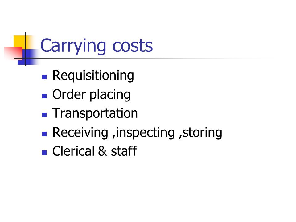 Carrying costs Requisitioning Order placing Transportation