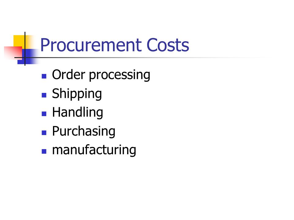 Procurement Costs Order processing Shipping Handling Purchasing