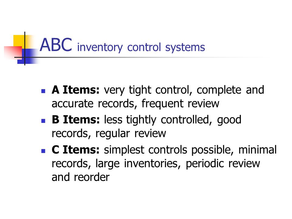 ABC inventory control systems