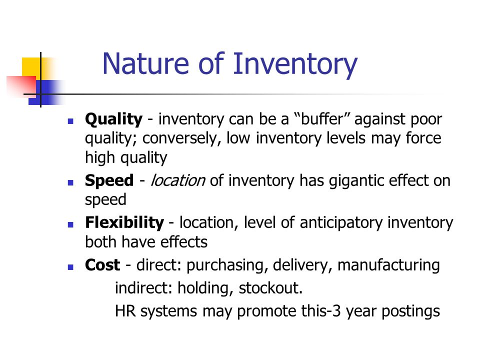 Nature of Inventory Quality - inventory can be a buffer against poor quality; conversely, low inventory levels may force high quality.