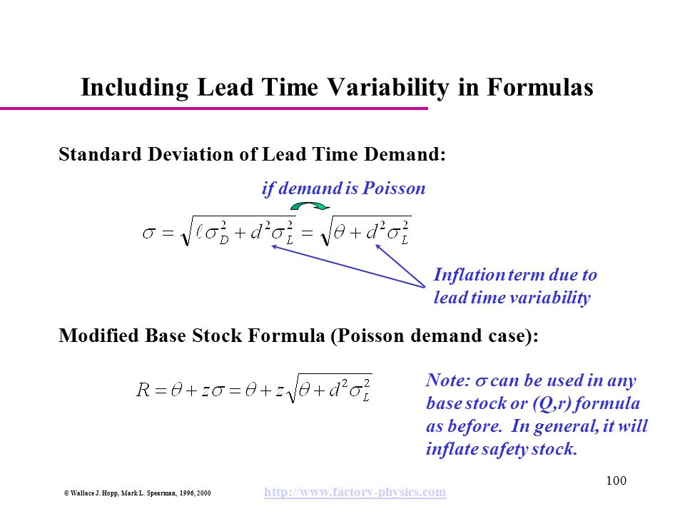 Including Lead Time Variability in Formulas