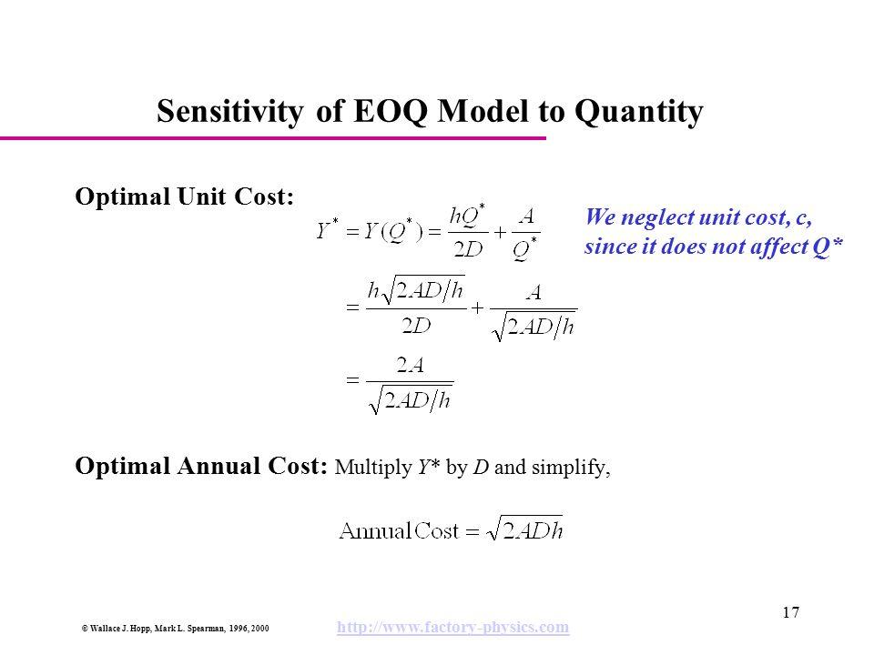 Sensitivity of EOQ Model to Quantity
