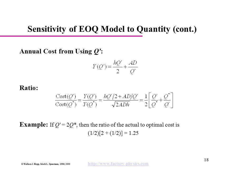 Sensitivity of EOQ Model to Quantity (cont.)