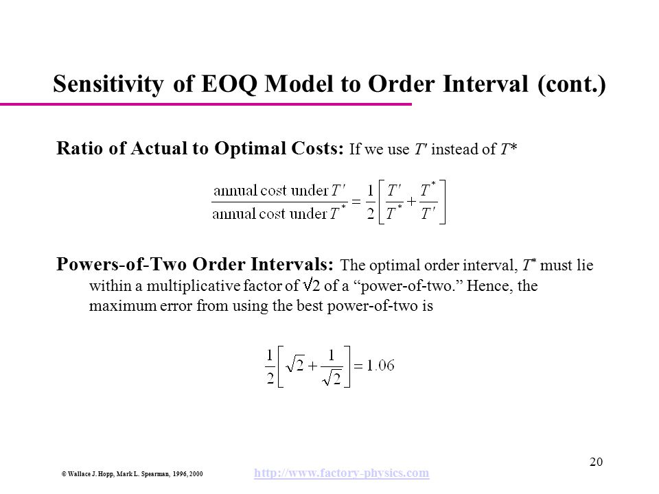 Sensitivity of EOQ Model to Order Interval (cont.)