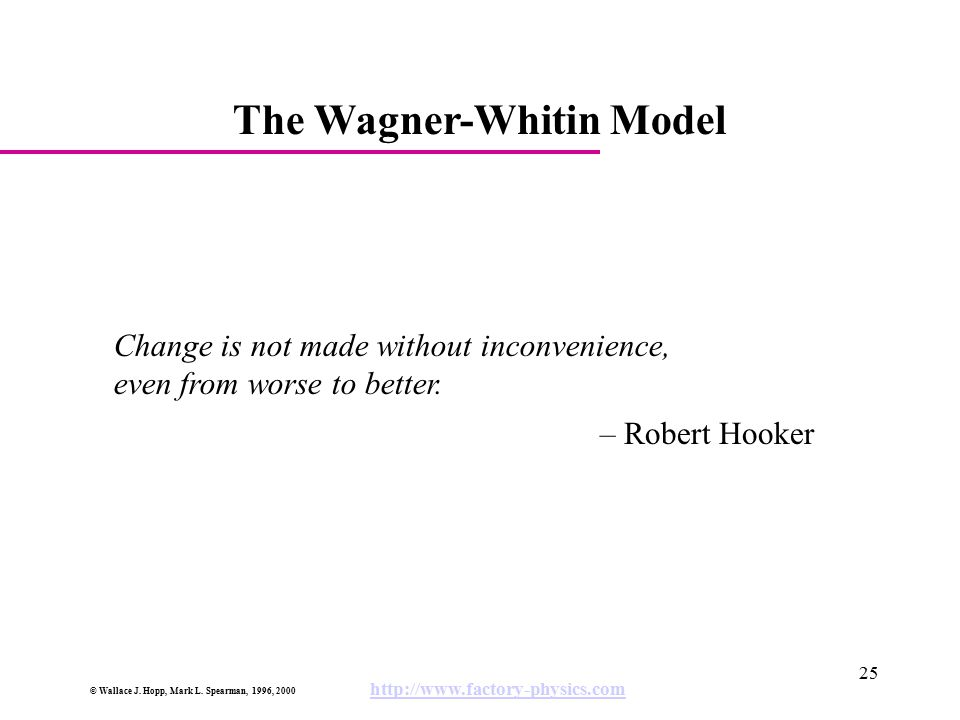 The Wagner-Whitin Model