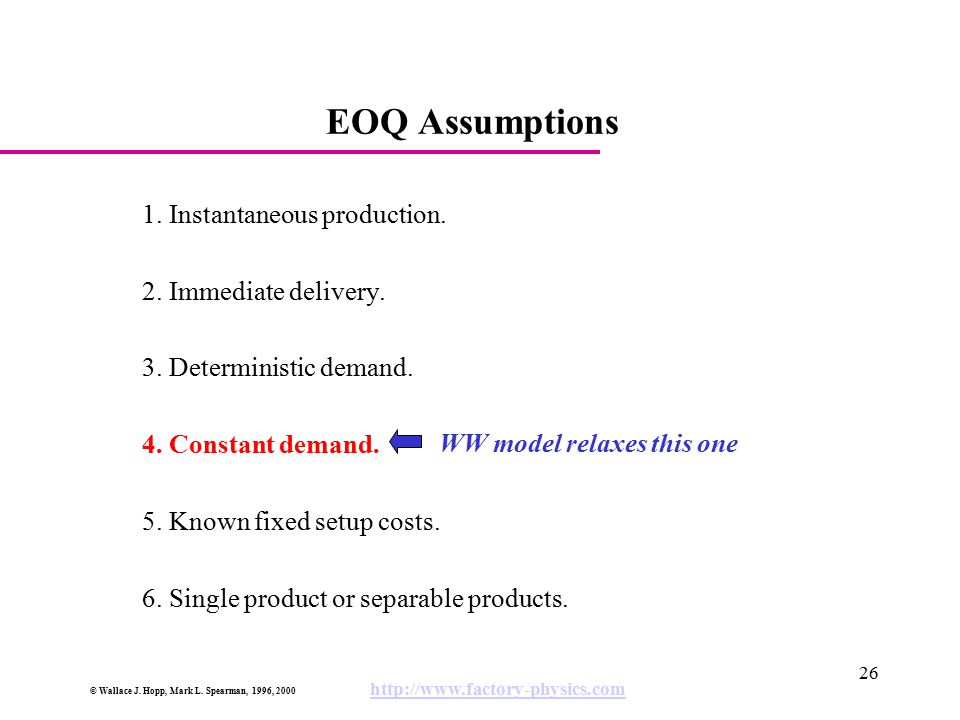 EOQ Assumptions 1. Instantaneous production. 2. Immediate delivery.