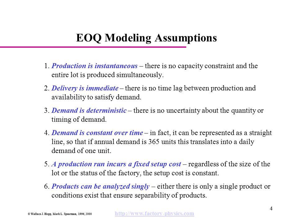 EOQ Modeling Assumptions