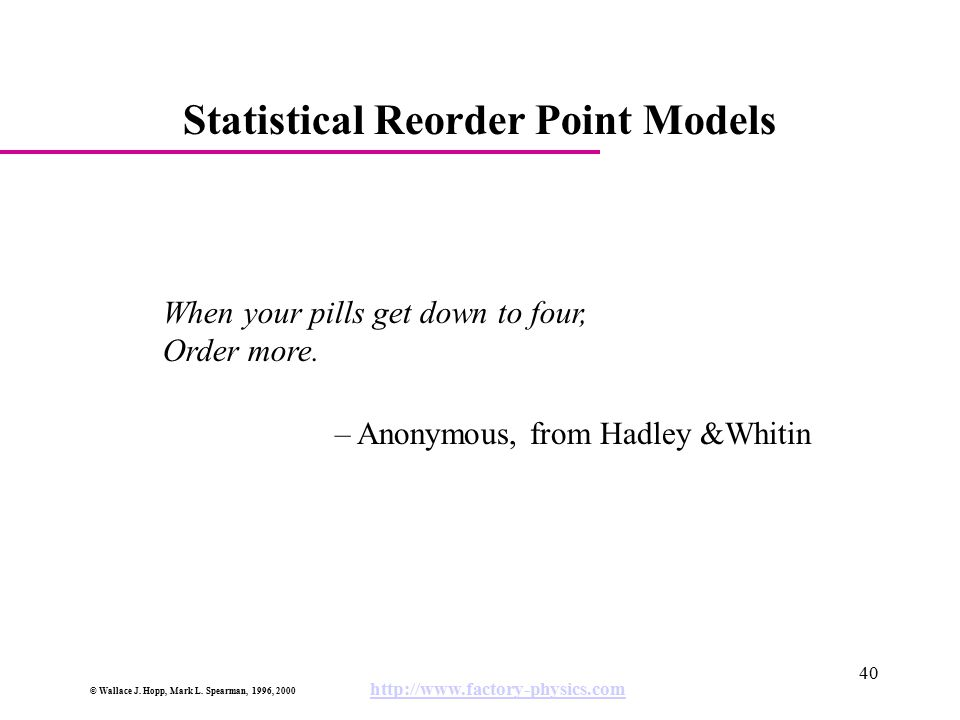 Statistical Reorder Point Models