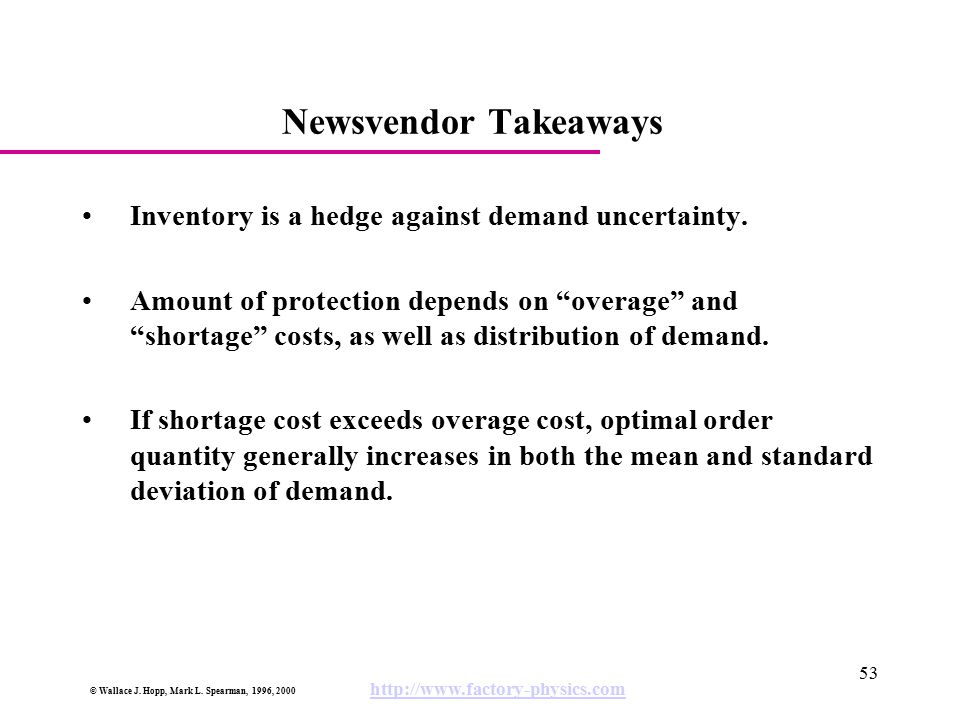 Newsvendor Takeaways Inventory is a hedge against demand uncertainty.