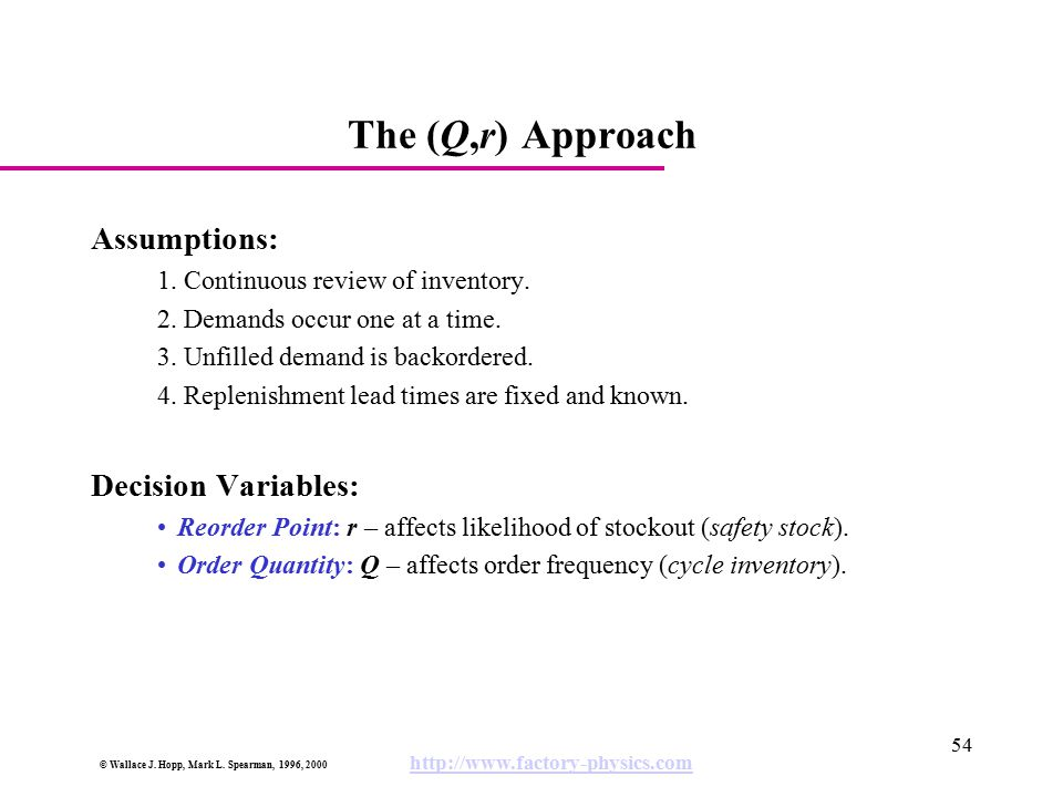 The (Q,r) Approach Assumptions: Decision Variables: