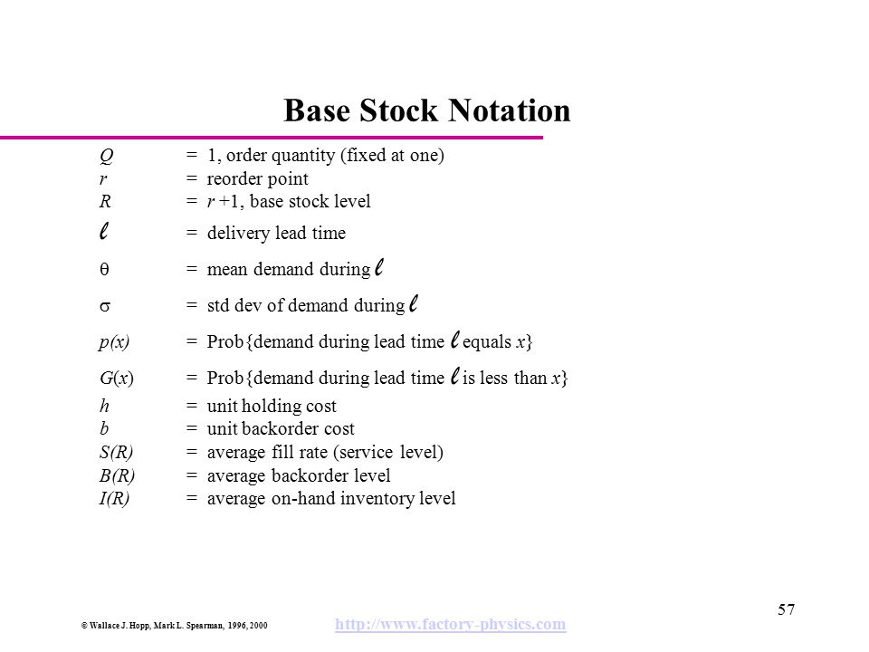 Base Stock Notation l = delivery lead time