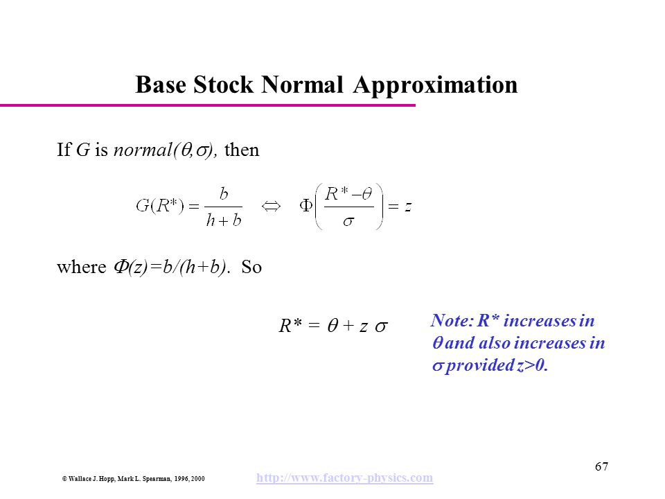 Base Stock Normal Approximation